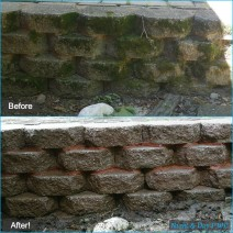 Retaining Wall Closeup - Before & After